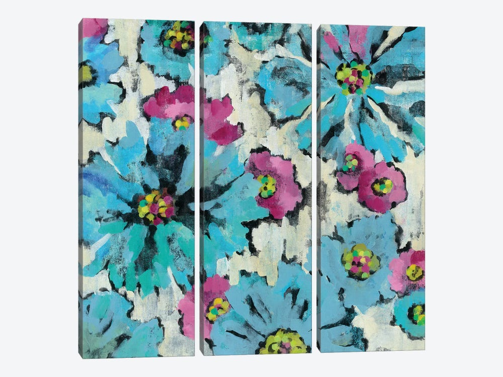 Graphic Pink And Blue Floral I by Silvia Vassileva 3-piece Canvas Print