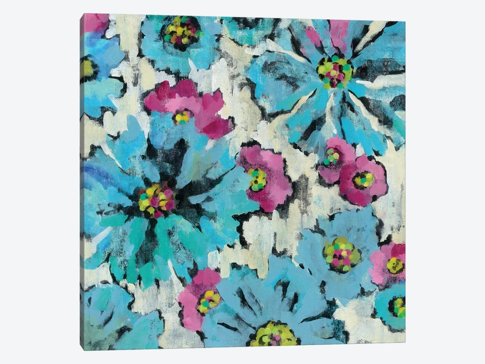 Graphic Pink And Blue Floral I by Silvia Vassileva 1-piece Canvas Print