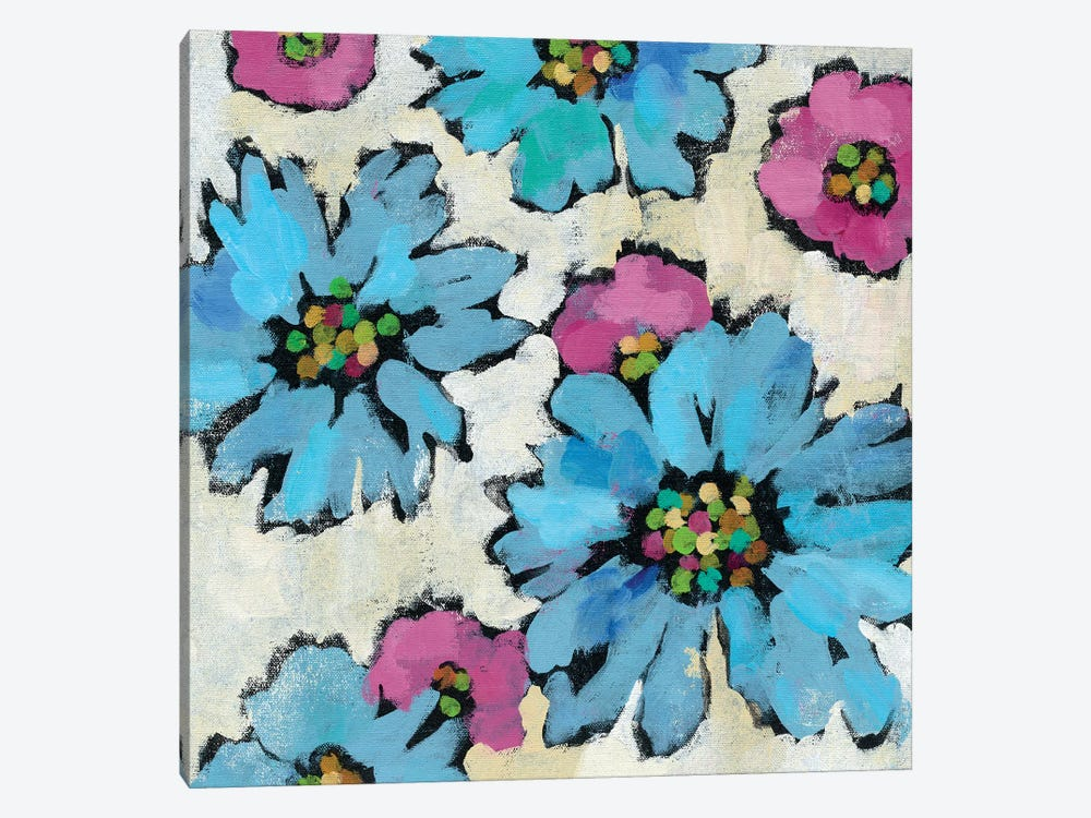 Graphic Pink And Blue Floral II by Silvia Vassileva 1-piece Canvas Art