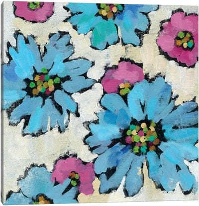 Graphic Pink And Blue Floral II Canvas Print #WAC5749