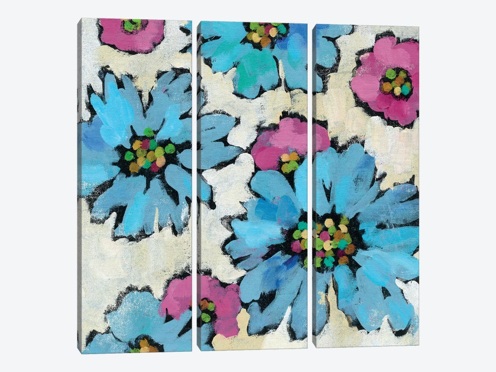 Graphic Pink And Blue Floral II by Silvia Vassileva 3-piece Canvas Wall Art