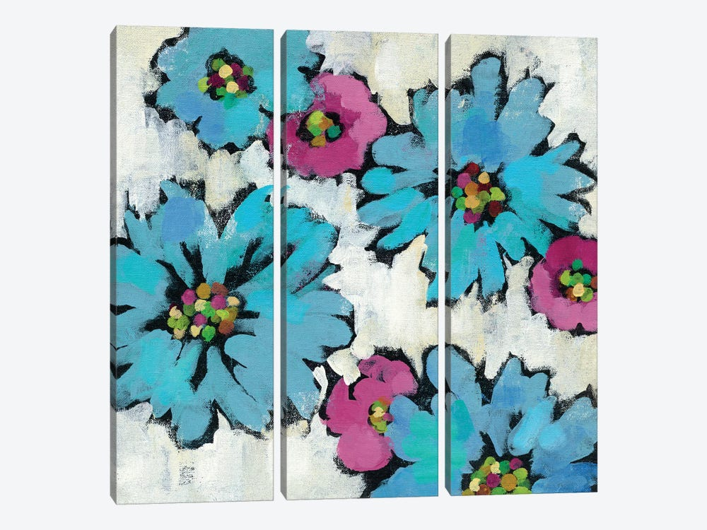 Graphic Pink And Blue Floral III by Silvia Vassileva 3-piece Canvas Wall Art