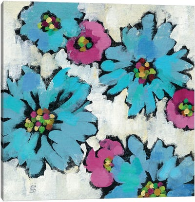 Graphic Pink And Blue Floral III Canvas Print #WAC5750