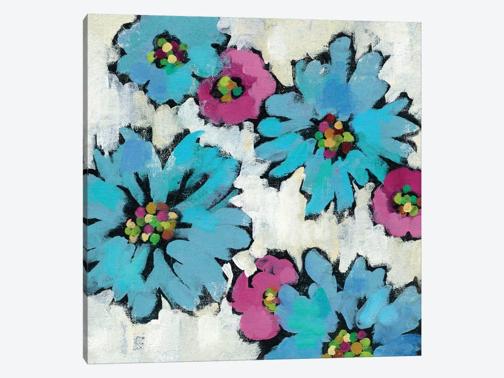 Graphic Pink And Blue Floral III 1-piece Canvas Art