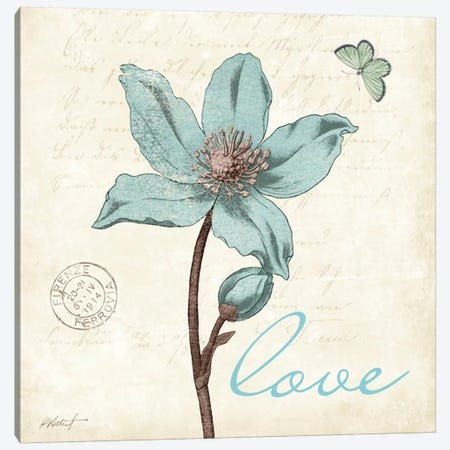 Touch of Blue IV - Love 3-Piece Canvas #WAC575} by Katie Pertiet Art Print
