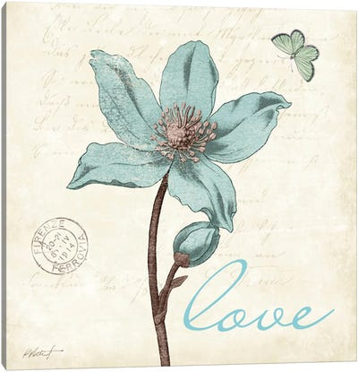 Touch of Blue IV - Love Canvas Art Print