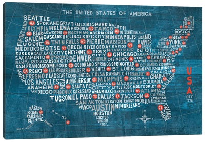 US City Map (Blue with States) Canvas Art Print