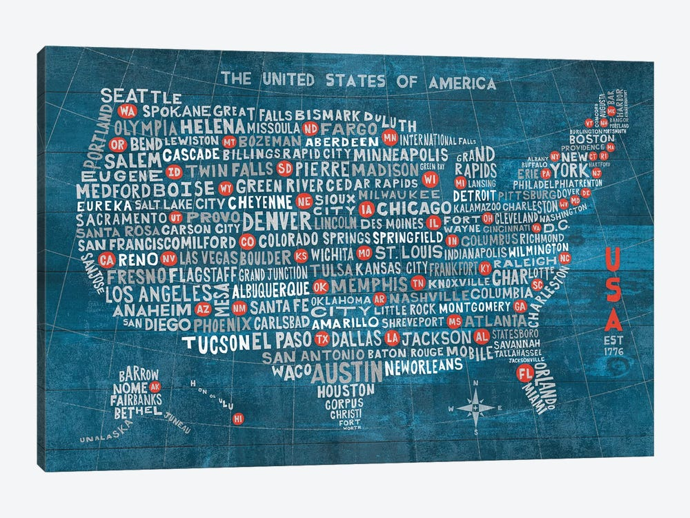 US City Map (Blue with States) by Michael Mullan 1-piece Art Print