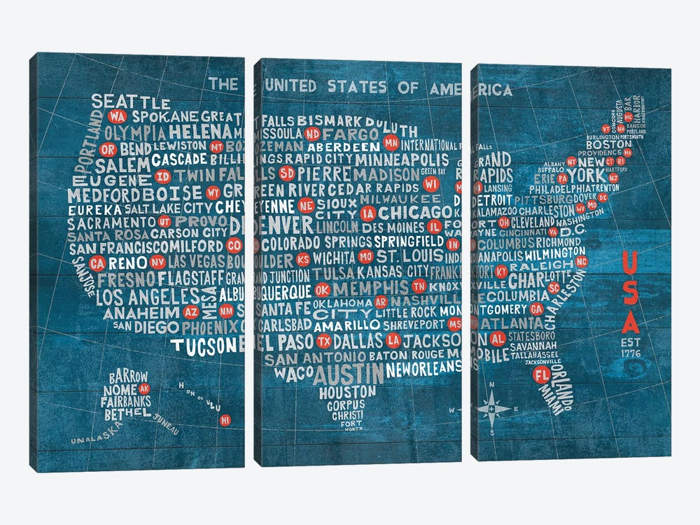 US City Map (Blue with States) by Michael Mullan 3-piece Art Print