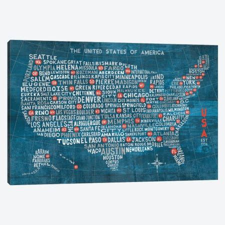 US City Map (Blue with States) Canvas Print #WAC5762} by Michael Mullan Canvas Print