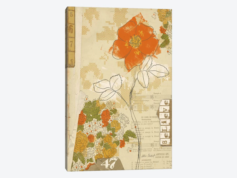 Collaged Botanicals I by Katie Pertiet 1-piece Canvas Print
