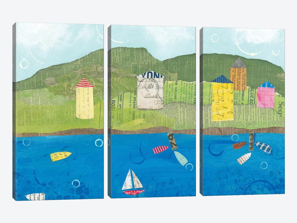 Coastal Harbor II by Courtney Prahl 3-piece Canvas Art Print