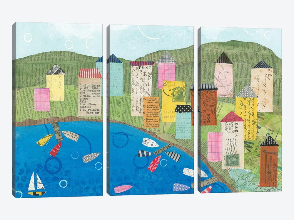 Coastal Harbor III by Courtney Prahl 3-piece Canvas Art