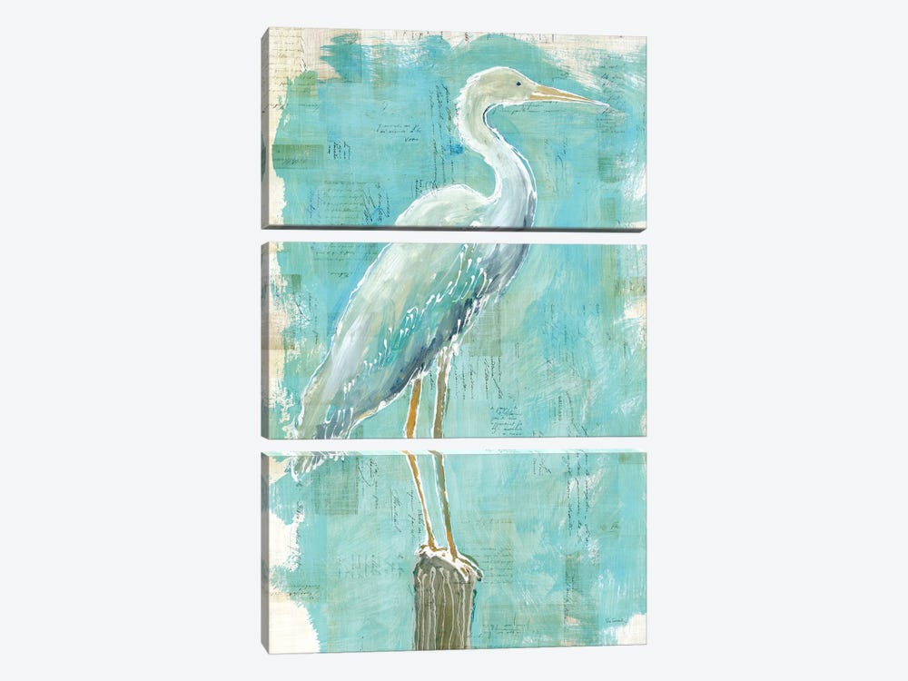 Coastal Egret I by Sue Schlabach 3-piece Canvas Wall Art