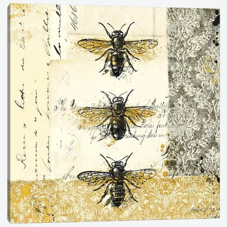 Golden Bees n' Butterflies No. 1 Canvas Print #WAC580} by Katie Pertiet Canvas Print