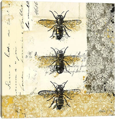 Golden Bees n' Butterflies No. 1 Canvas Art Print