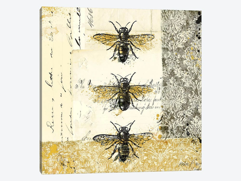 Golden Bees n' Butterflies No. 1 by Katie Pertiet 1-piece Canvas Art