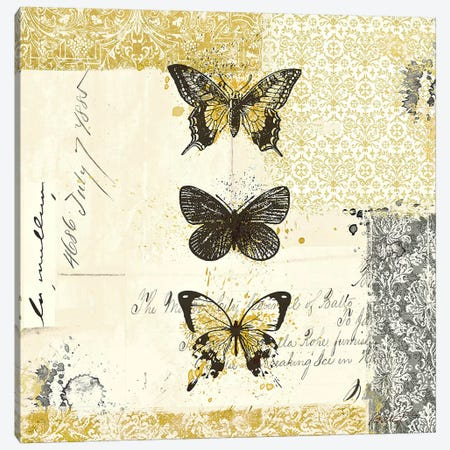 Golden Bees n' Butterflies No. 2 Canvas Print #WAC581} by Katie Pertiet Canvas Print