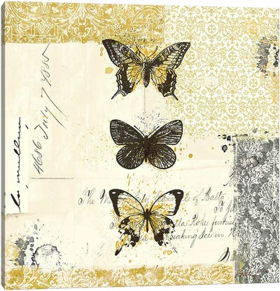Golden Bees n' Butterflies No. 2 Canvas Art Print