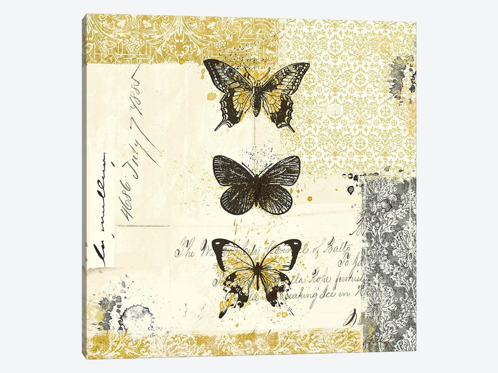 Golden Bees n' Butterflies No. 2 by Katie Pertiet 1-piece Art Print