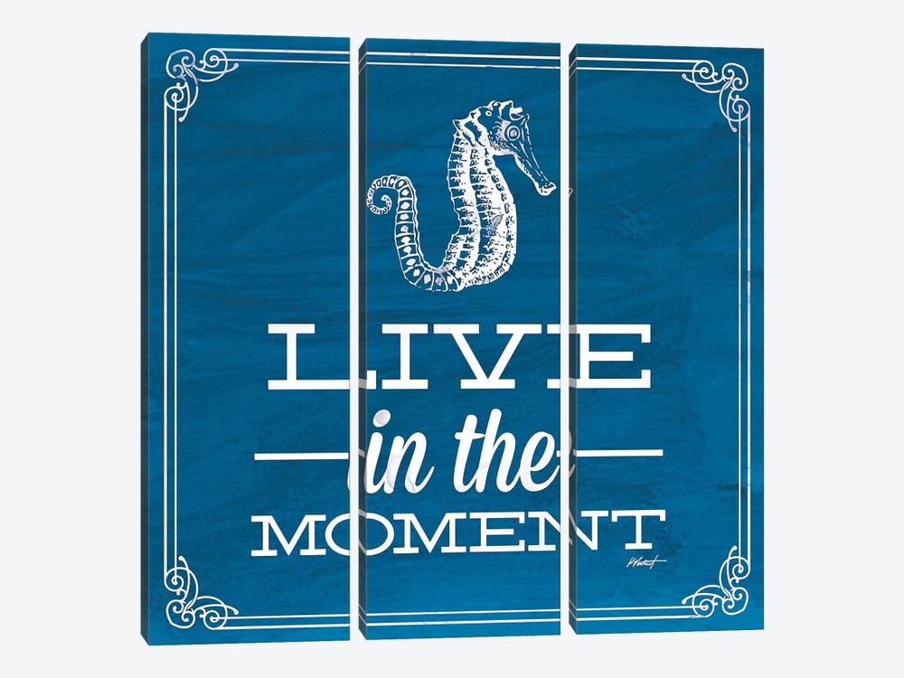 Live in the Moment Blue by Katie Pertiet 3-piece Canvas Wall Art