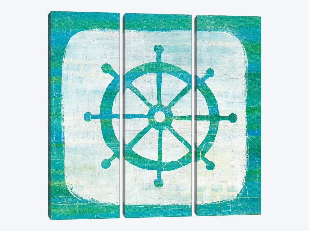 Ahoy IV in Blue & Green by Melissa Averinos 3-piece Canvas Artwork