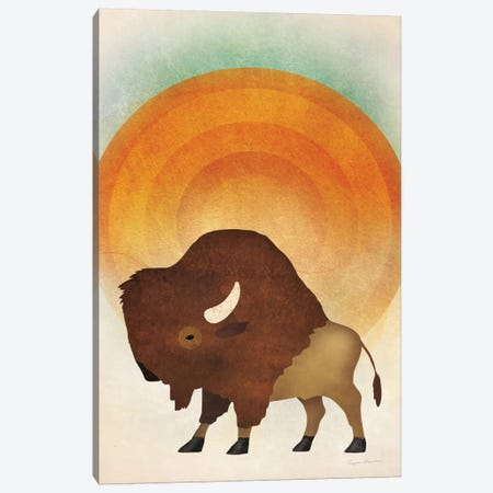 Blazing Sun Bison Canvas Print #WAC5881} by Ryan Fowler Canvas Artwork