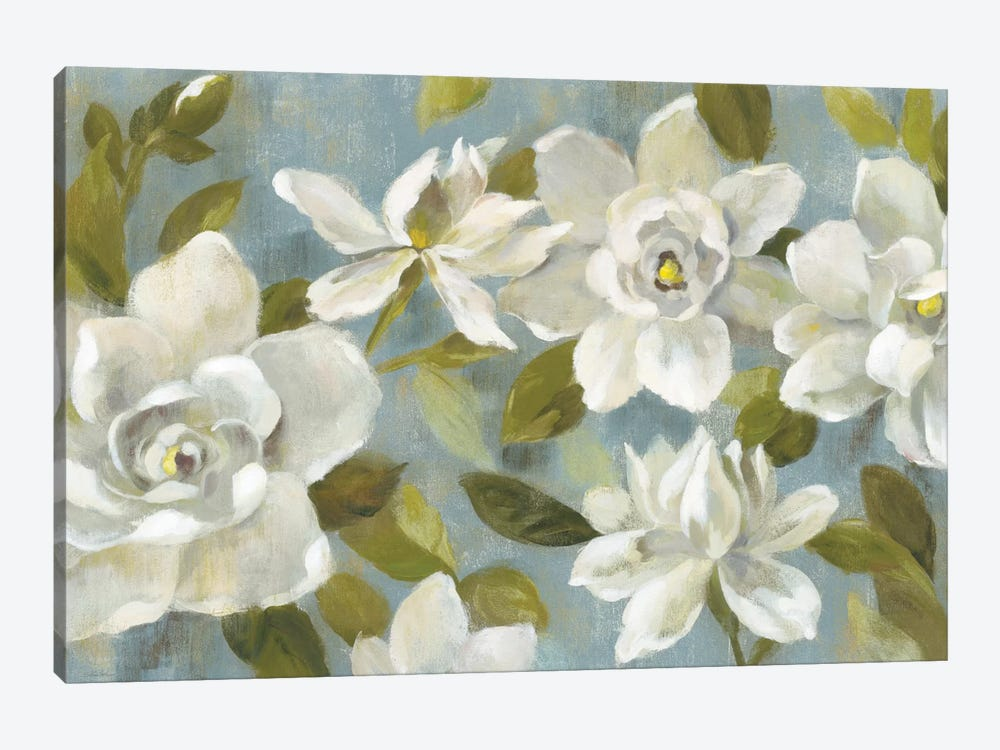 Gardenias On Slate Blue by Silvia Vassileva 1-piece Canvas Artwork