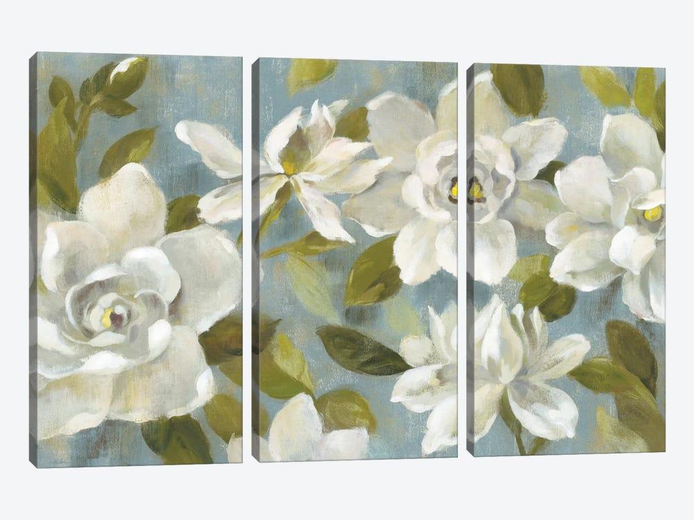 Gardenias On Slate Blue by Silvia Vassileva 3-piece Canvas Wall Art