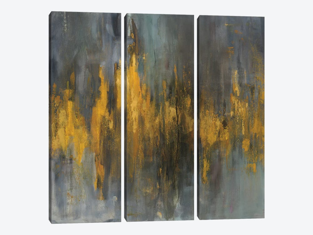 Black & Gold Abstract by Danhui Nai 3-piece Canvas Wall Art
