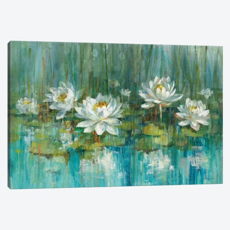 Water Lily Pond Canvas Print #WAC5892} by Danhui Nai Canvas Art Print