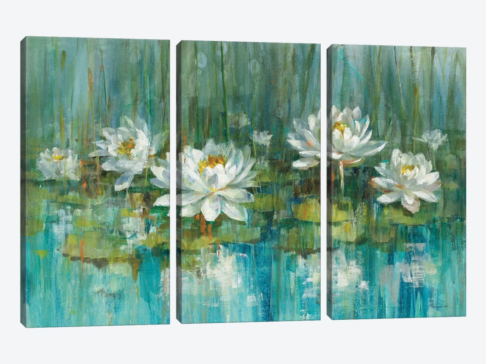 Water Lily Pond by Danhui Nai 3-piece Canvas Artwork
