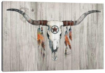 Longhorn On Wood Canvas Art Print
