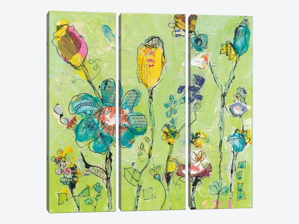 Doodle Garden by Kellie Day 3-piece Canvas Artwork