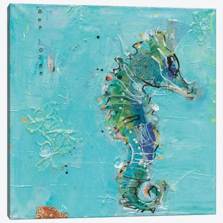 Little Seahorse Canvas Print #WAC5974} by Kellie Day Canvas Print