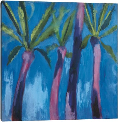 Palm Trees With Pink Canvas Art Print