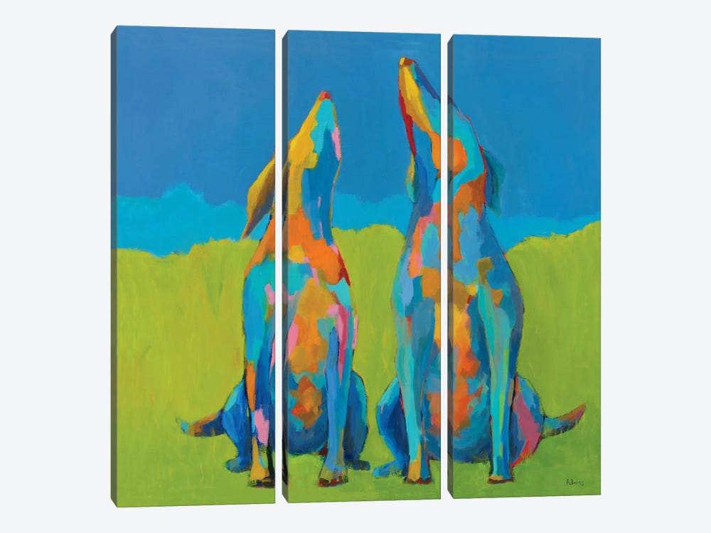 Howling Hounds by Phyllis Adams 3-piece Canvas Art Print