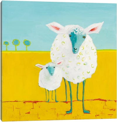 Mama & Baby Sheep Canvas Art Print