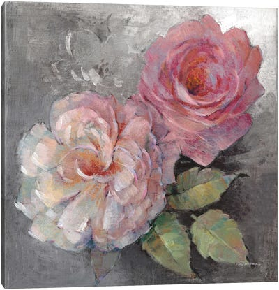 Roses On Gray I Canvas Art Print