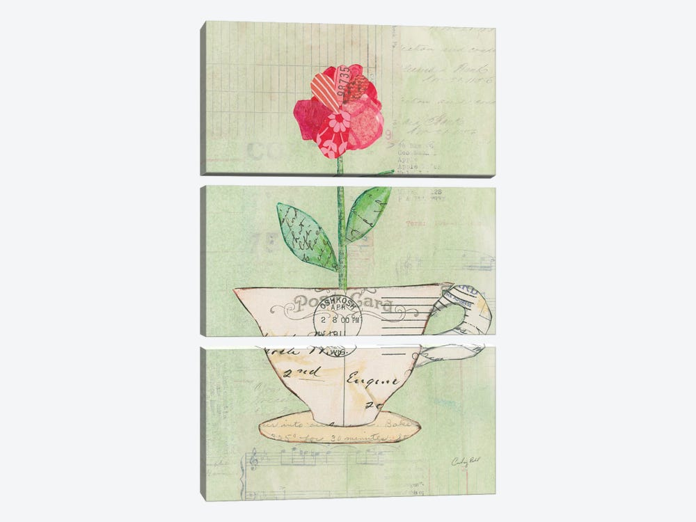 Teacup Floral I by Courtney Prahl 3-piece Canvas Artwork