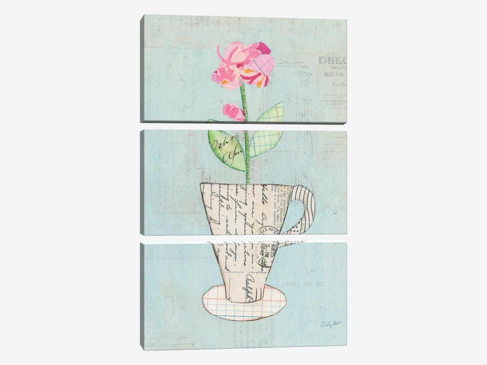 Teacup Floral III by Courtney Prahl 3-piece Canvas Wall Art