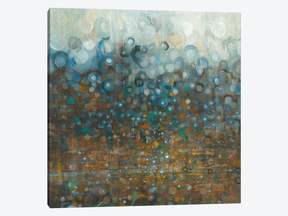 Blue And Bronze Dots by Danhui Nai 1-piece Canvas Print
