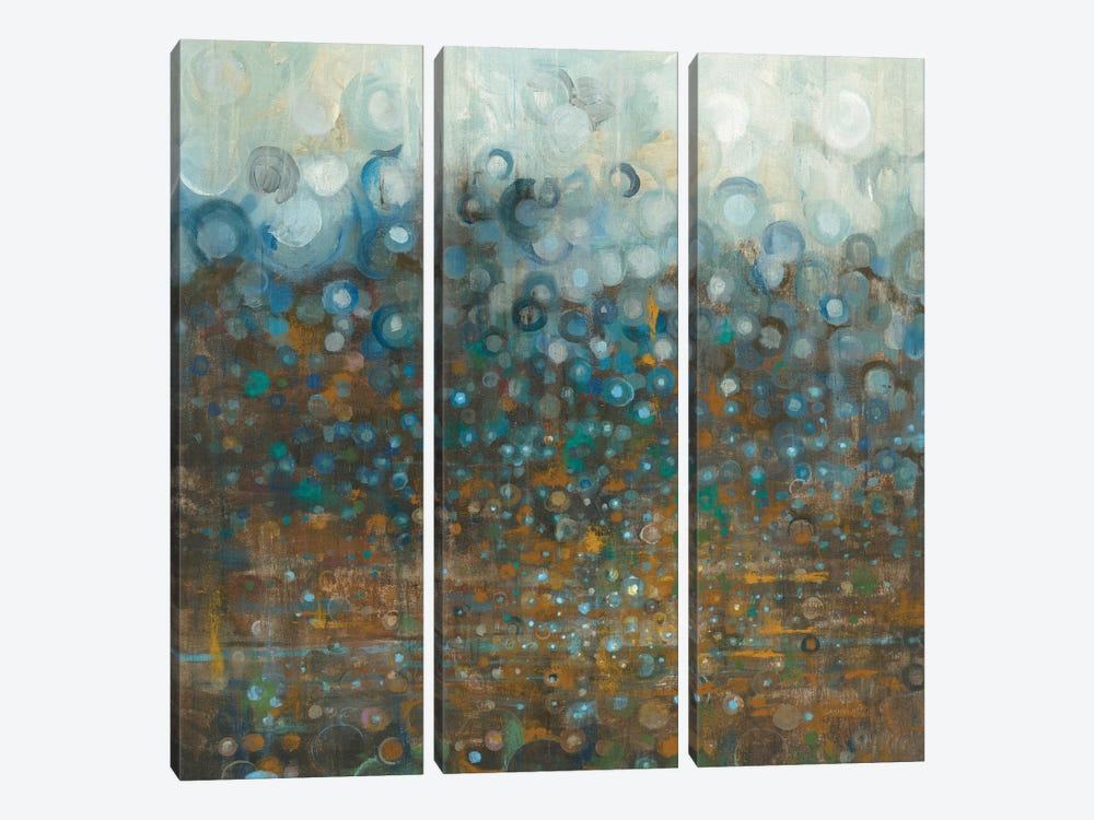 Blue And Bronze Dots by Danhui Nai 3-piece Canvas Print