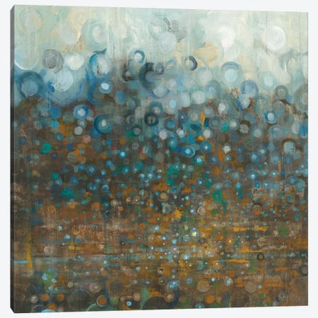 Blue And Bronze Dots 3-Piece Canvas #WAC6029} by Danhui Nai Canvas Artwork
