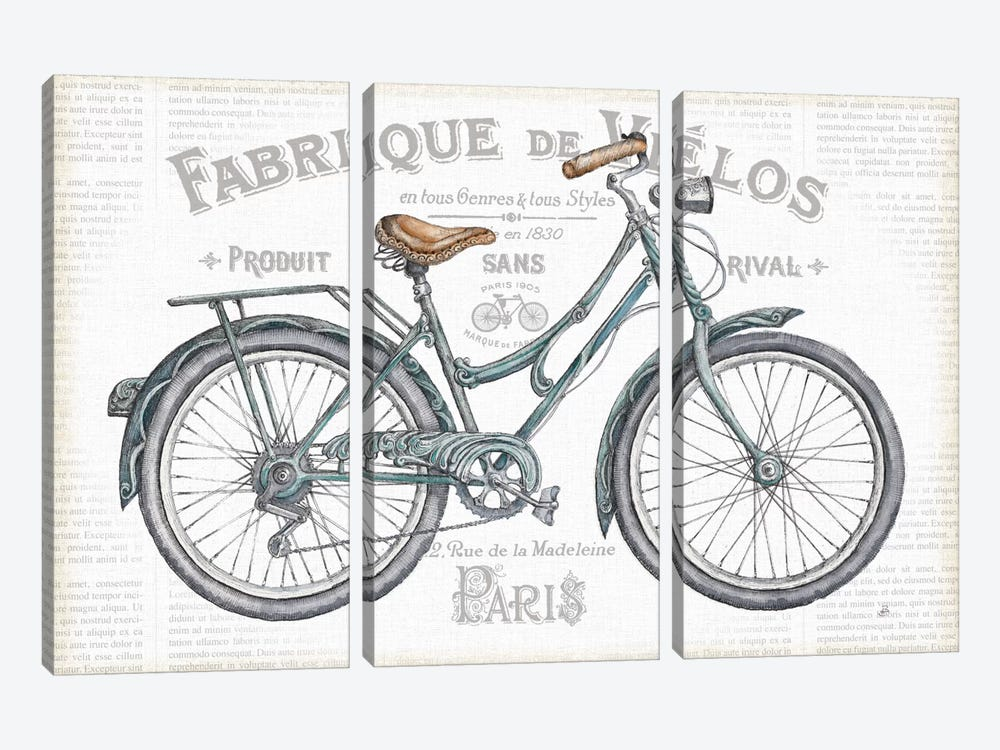 Bicycles I by Daphne Brissonnet 3-piece Canvas Wall Art