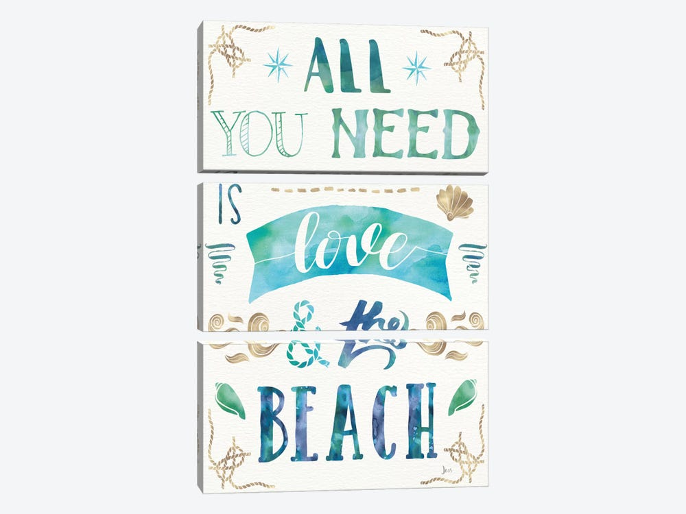 Love And The Beach I 3-piece Canvas Wall Art