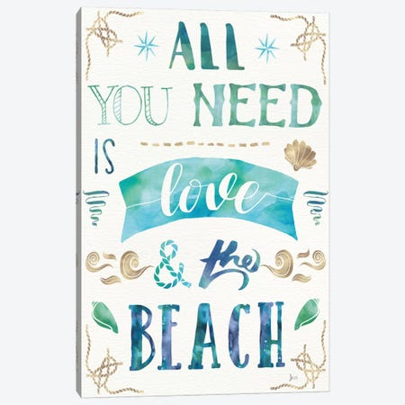 Love And The Beach I Canvas Print #WAC6079} by Jess Aiken Canvas Art Print
