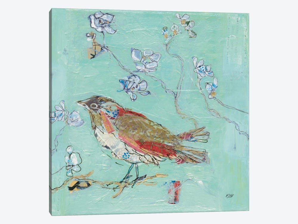 Aqua Bird by Kellie Day 1-piece Art Print