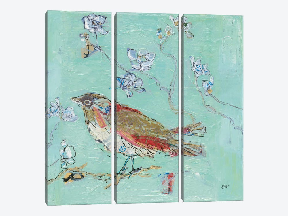 Aqua Bird by Kellie Day 3-piece Art Print