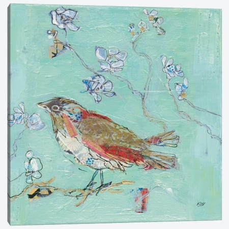 Aqua Bird Canvas Print #WAC6115} by Kellie Day Canvas Art Print